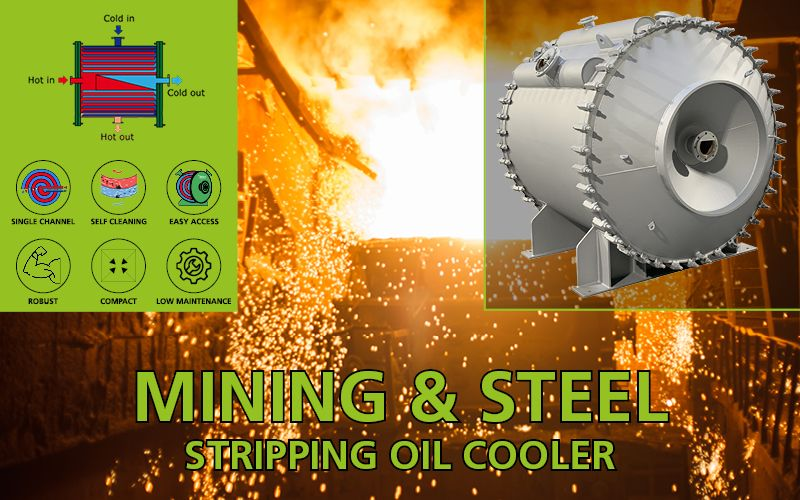 Stripping oil coolers for steel industry